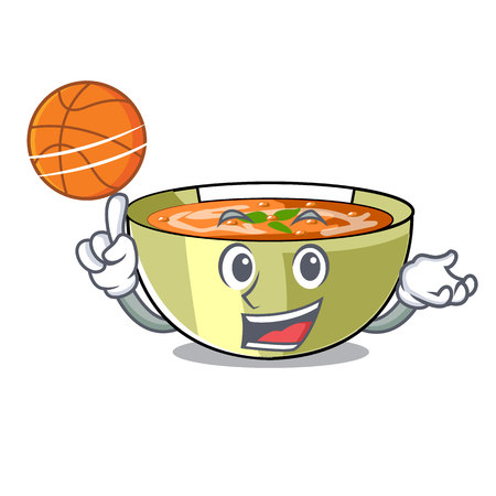 With basketball lentil soup in a mascot bowl vector illustration