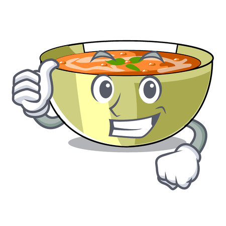 Thumbs up Cartoon lentil soup ready to served vector illustrtion