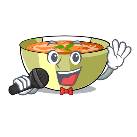 Singing lentil soup on character wooden table vector illustration Stock Illustratie