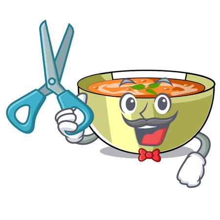 Barber lentil soup in a mascot bowl vector illustration