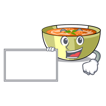With board lentil soup in a mascot bowl vector illustration