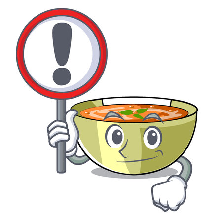 With sign lentil soup in a mascot bowl vector illustration