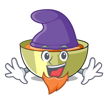 Elf lentil soup in a mascot bowl vector illustration