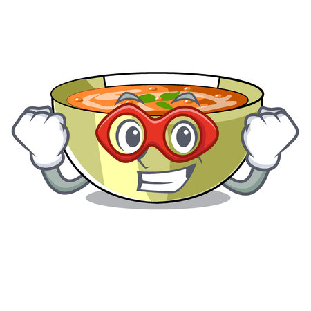 Super hero Cartoon lentil soup ready to served