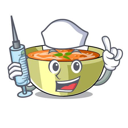 Nurse Cartoon lentil soup ready to served vector illustrtion Vettoriali