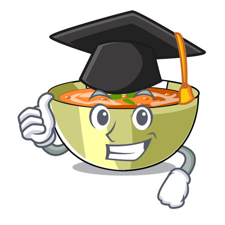 Graduation Cartoon lentil soup ready to served vector illustrtion