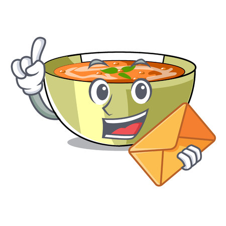 With envelope Cartoon lentil soup ready to served vector illustrtion