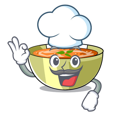 Chef Cartoon lentil soup ready to served