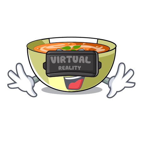 Virtual reality lentil soup on character wooden table vector illustration