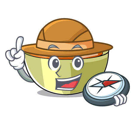 Explorer lentil soup on character wooden table vector illustration