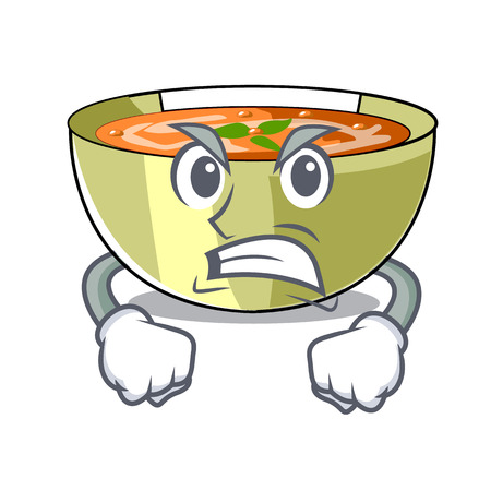 Angry lentil soup on character wooden table vector illustration Çizim