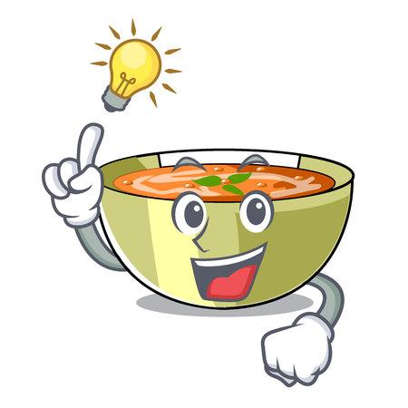 Have an idea lentil soup on a cartoon plate vector ilustration