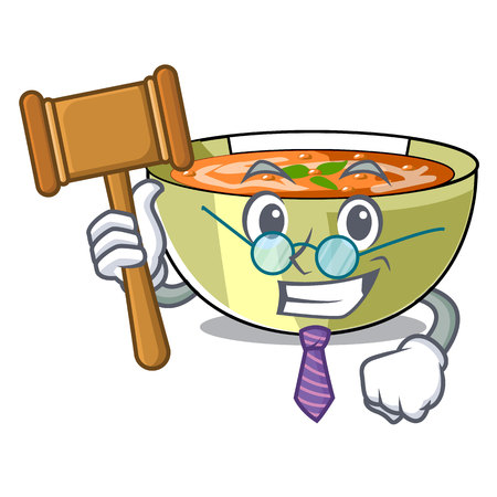 Judge lentil soup on a cartoon plate vector ilustration
