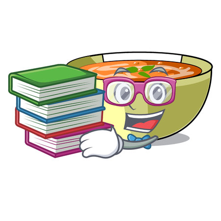 Student with book lentil soup on a cartoon plate vector ilustration