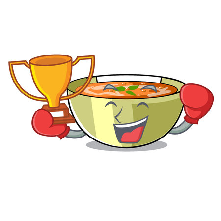Boxing winner lentil soup on a cartoon plate