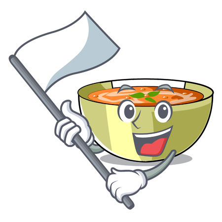 With flag lentil soup on a cartoon plate vector ilustration
