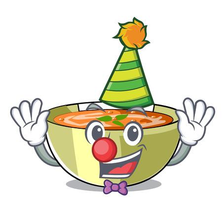 Clown lentil soup on a cartoon plate vector ilustration