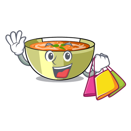 Shopping Cartoon lentil soup ready to served vector illustrtion