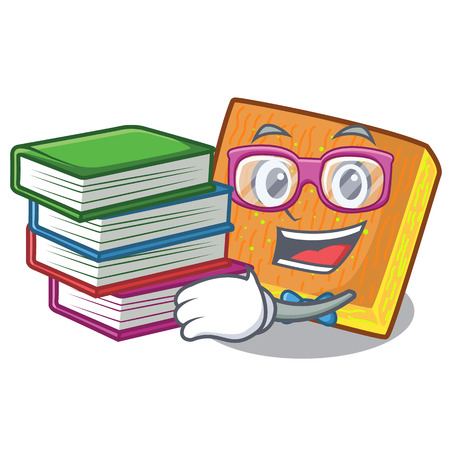 Student with book kunafa was isolated from the mascot vector illustration