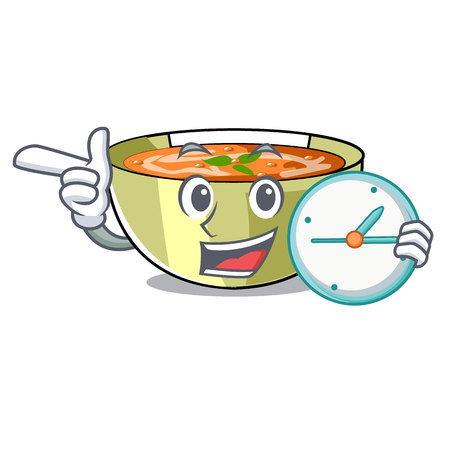 With clock Cartoon lentil soup ready to served vector illustrtion