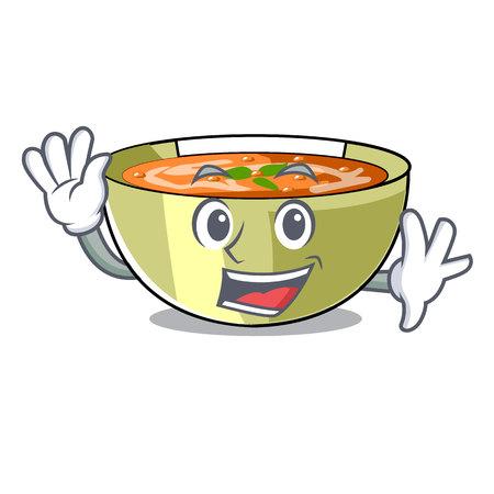 Waving Cartoon lentil soup ready to served vector illustrtion