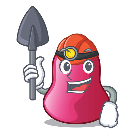 Miner character sponge in the makeuop table vector ilustration