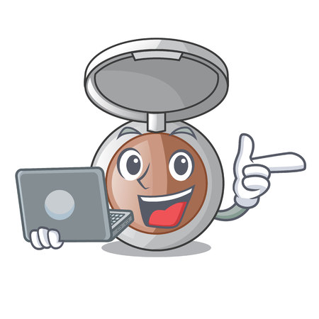 With laptop makeup powder in the character form vector illustration
