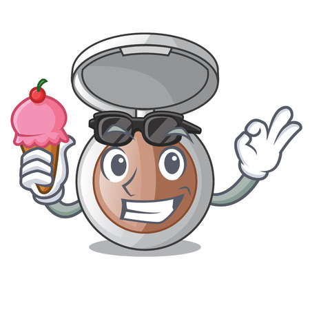 With ice cream powder makeup isolated in the mascot vector illustrartion Illustration