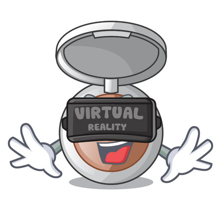Virtual reality cartoon powder above the dressing table vector illustration