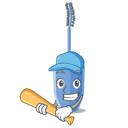 Playing baseball long mascara brush the in mascot vector illustration