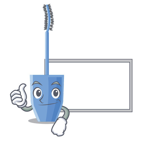 Thumbs up with board long mascara brush the in mascot vector illustration Illustration