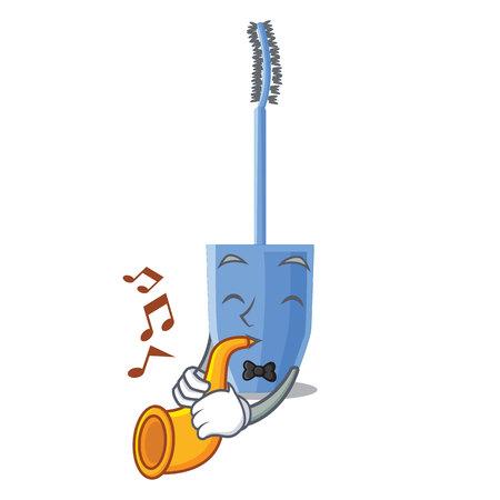 With trumpet mascara brush isolated in the cartoons vector illustration