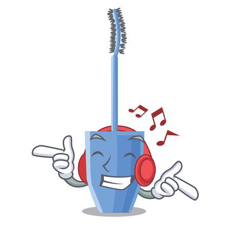Listening music mascara brush isolated in the cartoons 矢量图像