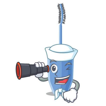 Sailor with binocular mascara brush isolated in the cartoons vector illustration