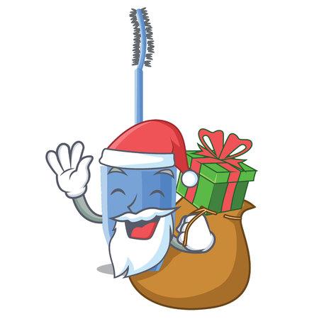 Santa with gift mascara brush on character dressing table vector illustration