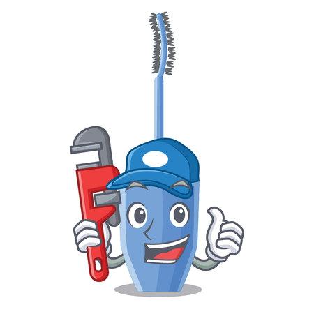 Plumber mascara brush on character dressing table vector illustration