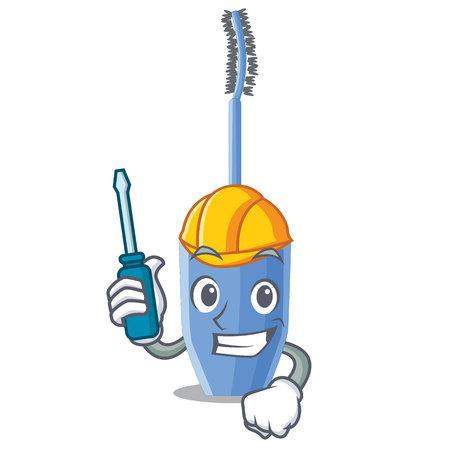 Automotive mascara brush on character dressing table vector illustration