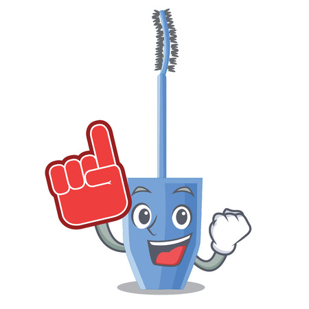 Foam finger mascara brush on character dressing table vector illustration