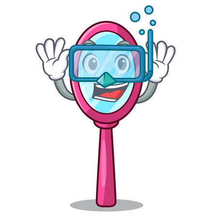 Diving mirror isolated with on the mascot vector illustration