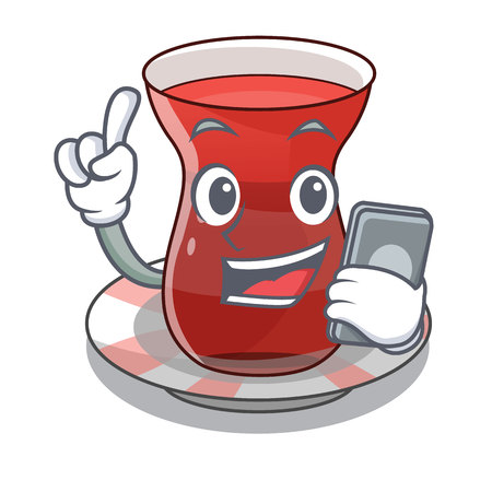 With phone trukish tea in the cartoon form vector illustration
