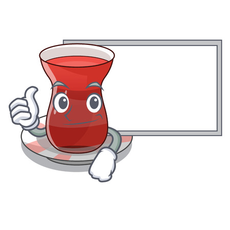 Thumbs up with board trukish tea in the cartoon form vector illustration 向量圖像