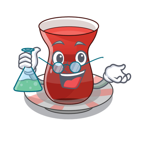Professor turkish tea in a cartoon glass vector illustration