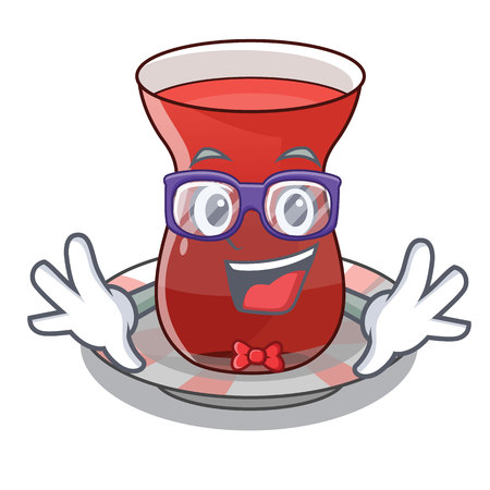 Geek turkish tea in a cartoon glass vector illustration