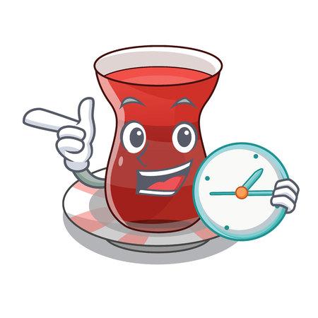 With clock turkish tea in a cartoon glass vector illustration