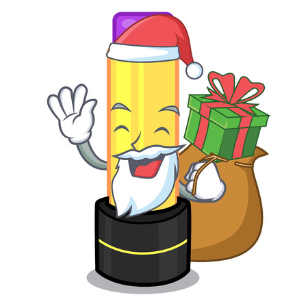 Santa with gift lip balm in the cartoon shape vector illustration