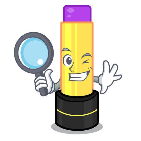 Detective lip balm above mascot dressing table