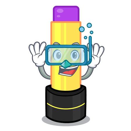 Diving lip balm above mascot dressing table vector illustration