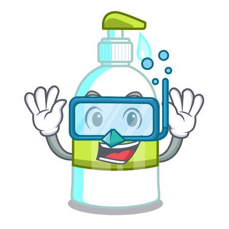 Diving liquid soap in a cartoon basket vector illustration