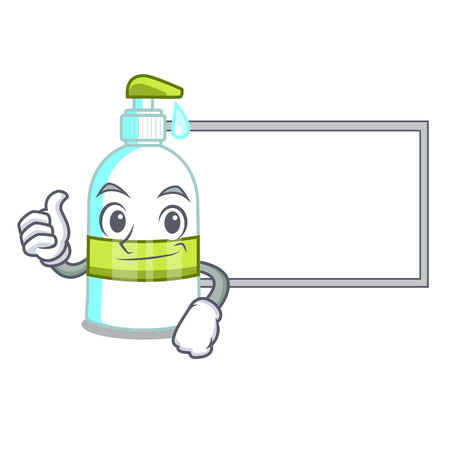 Thumbs up with board liquid soap in the character bottles vector illustratrion