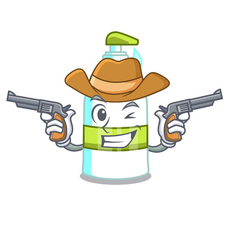 Cowboy liquid soap in the character bottles Illustration